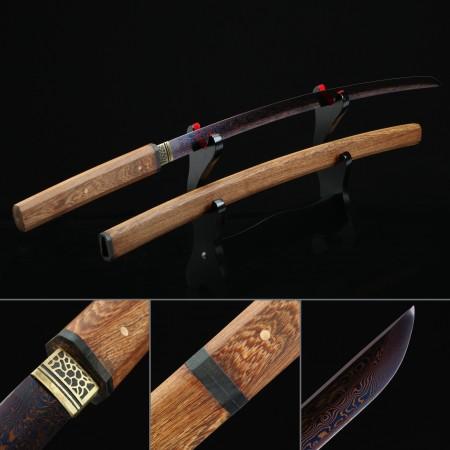 Japanese Shirasaya Katana Swords Pattern Steel Without Tsuba With Blue Blade