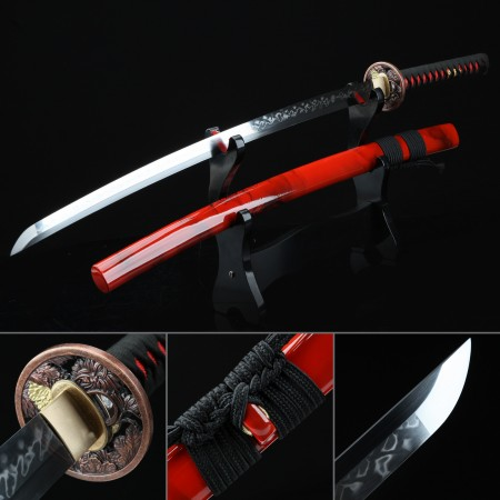 Handmade T10 Carbon Steel Real Hamon Japanese Katana Samurai Sword With Red Scabbard