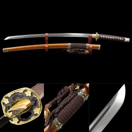 Handmade Pattern Steel Flower Tsuba Real Japanese Samurai Katana Sword With Orange Scabbard