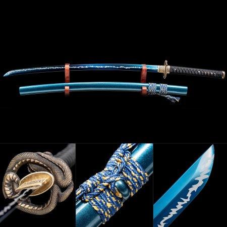Blue Rose Katana, Handmade Japanese Sword High Manganese Steel With Blue Blade And  Snake Tsuba