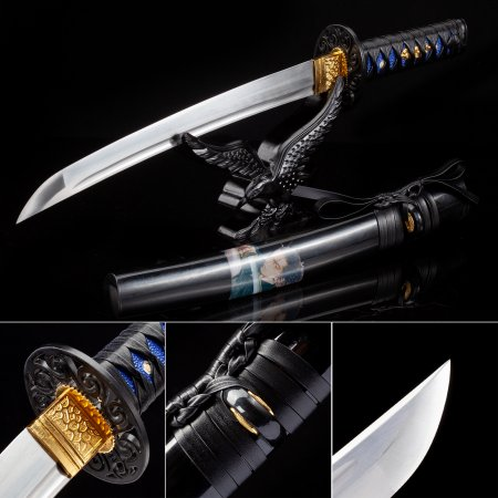 Handmade High Manganese Steel Real Japanese Tanto Sword With Black Scabbard And Alloy Tsuba
