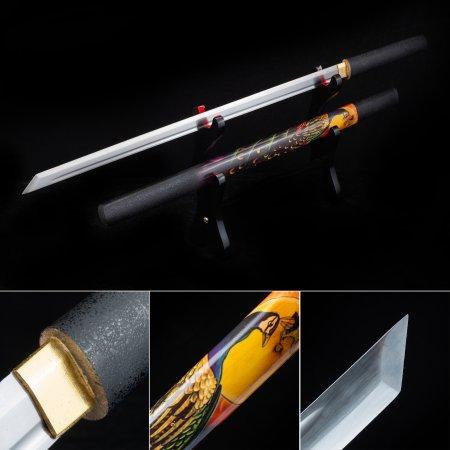 Handmade Straight Blade Shirasaya Ninjato Ninja Shikomizue Blind Fury Stick Swords Without Tsuba