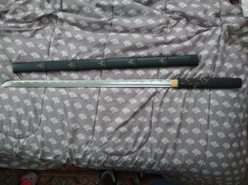 Handmade Straight Blade Japanese Shirasaya Ninjato Shikomizue Blind Fury Stick Swords Without Tsuba