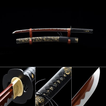 Handmade High Manganese Steel Red Balde Sharpening Real Japanese Wakizashi Sword With Black Scabbard