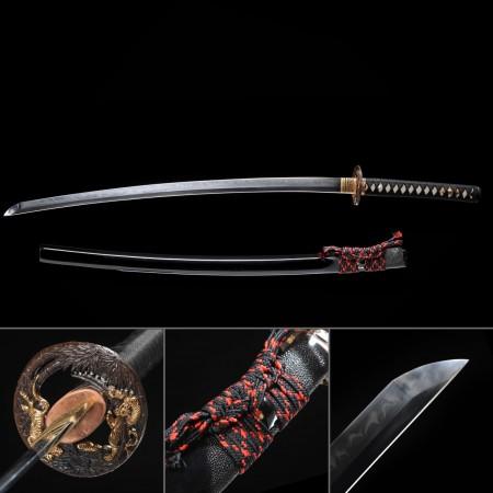 Handmade Gold Tiger Theme Tsuba Full Tang Real Hamon Katana Samurai Swords