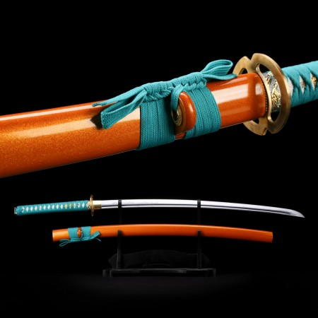Handmade Laser Carving Blade Japanese Samurai Sword Katana With Orange Scabbard