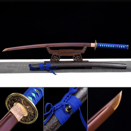 Handmade Japanese Katana Sword High Manganese Steel With Red Blade And Black Scabbard