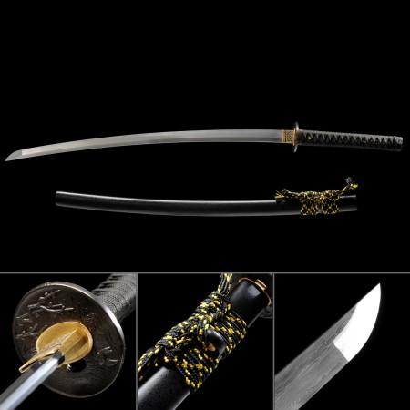Full Tang Sword, Handmade Japanese Katana Sword Damascus Steel With Black Scabbard
