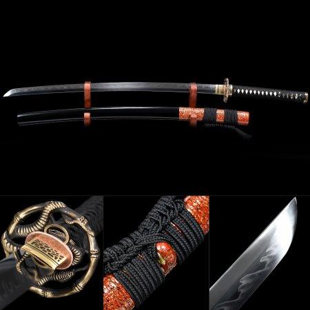 Handmade T10 Carbon Steel Authentic Hamon Sharpening Japanese Katana Sword With Black Scabbard