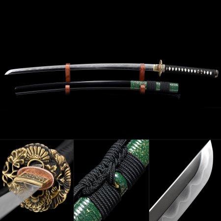 High-perform Pattern Steel Flower Tsuba Real Hamon Japanese Samurai Katana Sword With Black Scabbard