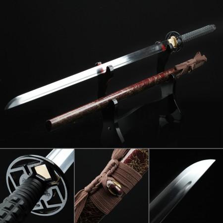 Handmade High Manganese Steel Real Japanese Ninjato Ninja Sword With Red Scabbard