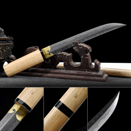 Handmade T10 Carbon Steel Real Hamon Japanese Aikuchi Tanto Sword With Natural Scabbard