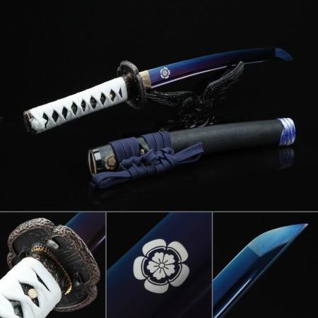 Handmade Blue Blade Tsushima Ghost Clan Sakai Tanto Sword Cosplay Replica
