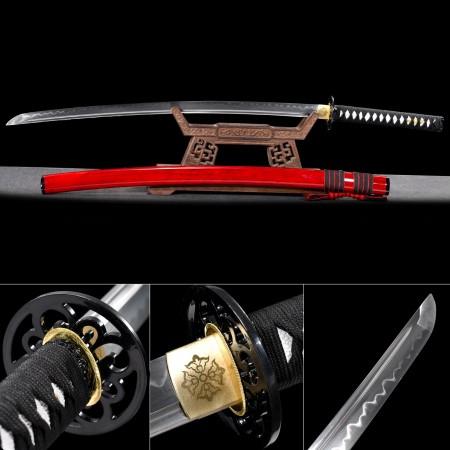 Handmade T10 Carbon Steel Red Saya Theme Real Hamon Katana Samurail Swords