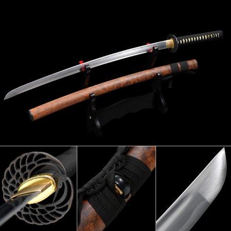 Handmade 1060 Carbon Steel Real Japanese Katana Sword With Brown Scabbard And Alloy Tsuba