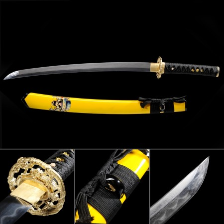 Short Katana, Handmade Wakizashi Sword Damascus Steel With Yellow Scabbard