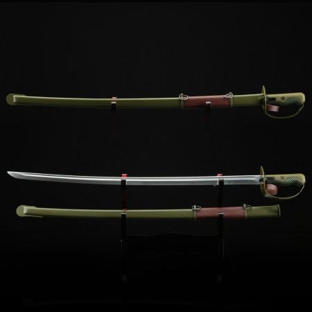 Handmade Green Tsuba Real Katana Japanese Samurai Swords With Stainless Steel