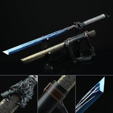 Handmade High Manganese Steel Blue Straight Blade Chokuto Japanese Ninjato Swords
