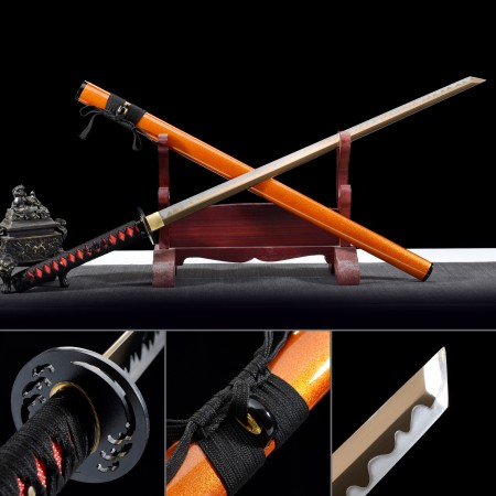 Handmade Gold Straight Blade Real Japanese Ninjato Ninja Sword With Orange Scabbard