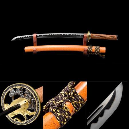 Handmade High Manganese Steel Black Blade Real Japanese Wakizashi Sword With Orange Scabbard