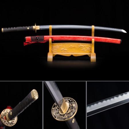 Handmade High-performan T10 Carbon Steel Red Saya Real Hamon Japanese Katana Samurai Swords
