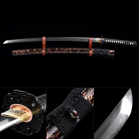 Handmade Pattern Steel Real Hamon Japanese Samurai Katana Sword With Brown Scabbard