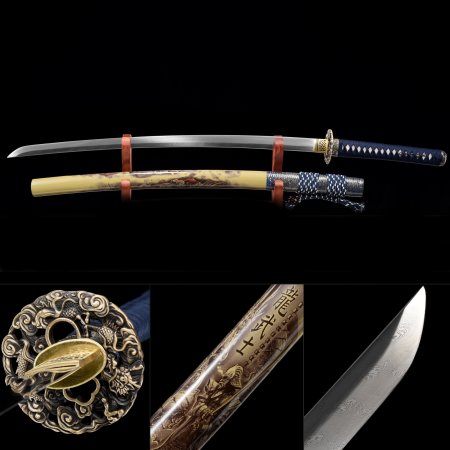 Handmade Pattern Steel Dragon Tsuba Real Japanese Samurai Katana Swords With Brown Scabbard