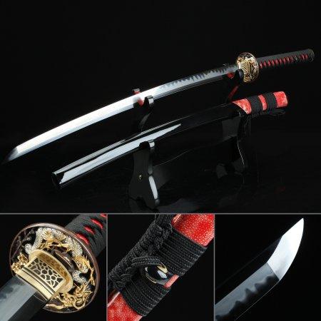Handmade Dragon Tsuba Real Japanese Katana Samurai Sword With T10 Carbon Steel