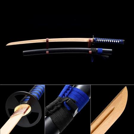 Handmade Natural Bamboo Wooden Blade Unsharpened Katana Samurai Swords With Black Scabbard