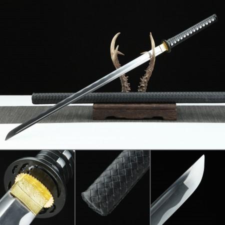 Handmade Carbon Steel Black Leather Saya Real Japanese Ninjato Ninja Swords