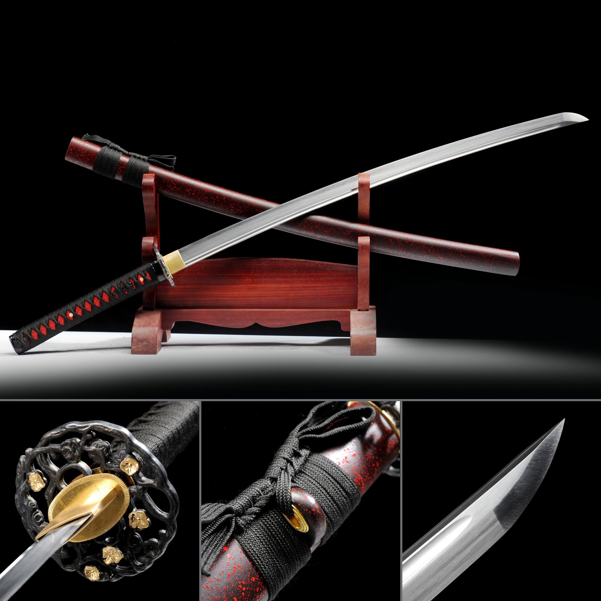 Black And Red Katana, Handmade Japanese Samurai Sword High Manganese Steel With Dark Red Scabbard