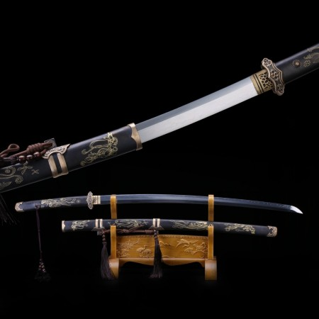 Black Samurai Sword, T10 Carbon Steel Real Japanese Katana With Carved Scabbard