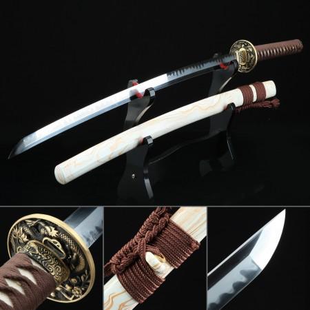 Handmade T10 Carbon Steel Real Hamon Japanese Katana Samurai Sword With White Scabbard