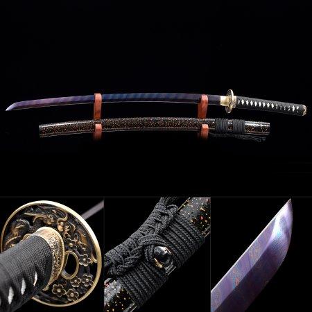 Handmade Pattern Steel Blue Balde And Dragon Theme Tsuba Authentic Japanese Samurai Katana Swords