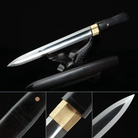 Handmade Pattern Steel Double Edge Balde Short Sword Japanese Aikuchi Pocket Tanto Knife
