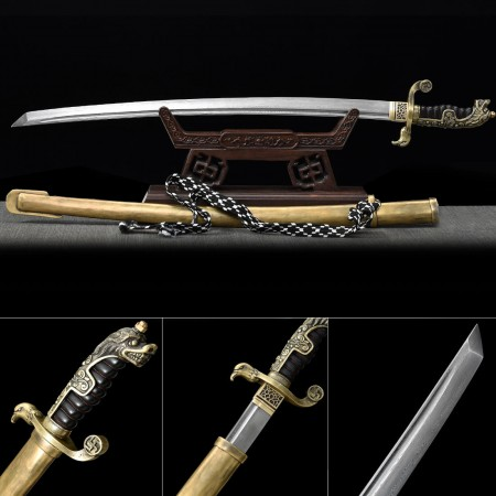 Battle Ready Katana, Authentic Japanese Sword Pattern Steel Hand Forge Tactical Swords With Strap