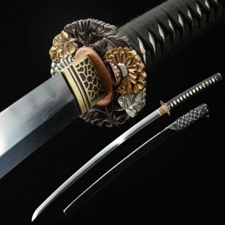 Battle Ready Katana, Authentic Japanese Katana T10 Folded Clay Tempered Steel Sturdy Tactical Swords