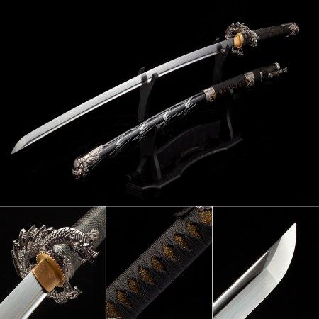 Handmade Japanese Samurai Sword High Manganese Steel With Black Scabbard And Dragon Tsuba
