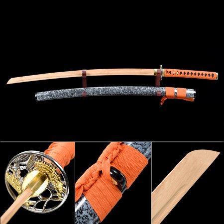 Handmade Natural Bamboo Wooden Blade Unsharpened Katana Sword With Dark Blue Scabbard