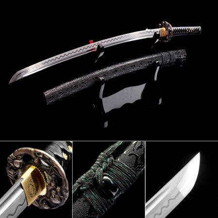 Handmade Japanese Samurai Sword Pattern Steel Full Tang With Black Leather Scabbard