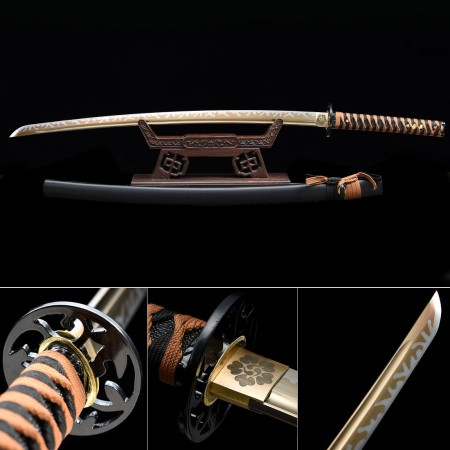 Handmade High Manganese Steel Gold Blade Full Tang Real Japanese Katana Samurai Swords