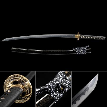 Black Handmade Damascus Steel Real Hamon Blade Katana Japanese Samurai Swords