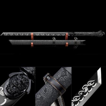 Handmade High Manganese Steel Black Blade Full Tang Japanese No Guard Ninjato Ninja Sword