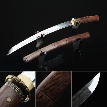 Short Katana, Handmade Japanese Wakizashi Sword Damascus Steel With Brown Scabbard