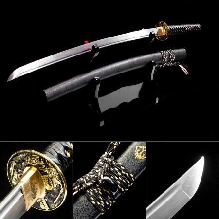 Handmade T10 Carbon Steel Real Hamon Japanese Katana Samurai Swords With Black Leather Scabbard