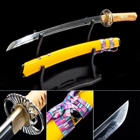 Handmade T10 Carbon Steel Real Hamon Japanese Wakizashi Swords With Yellow Scabbard And Alloy Tsuba