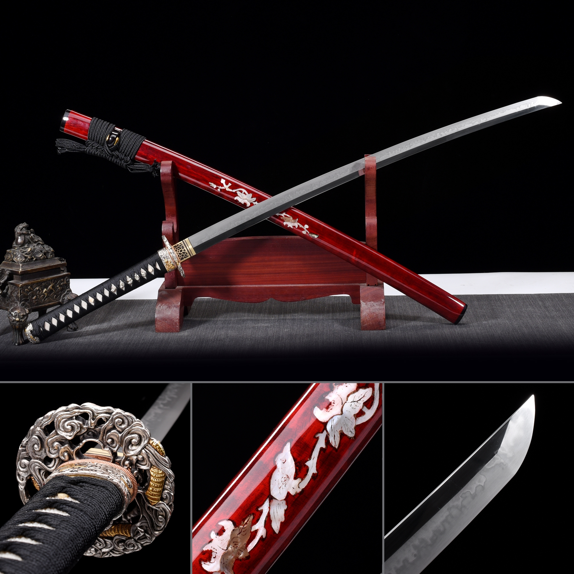 Battle Ready Sword, Authentic Japanese Katana T10 Folded Clay Tempered Steel Sturdy Tactical Swords
