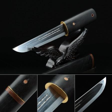 Handmade Pattern Steel Full Tang Real Short Sword Japanese Aikuchi Pocket Tanto Knife