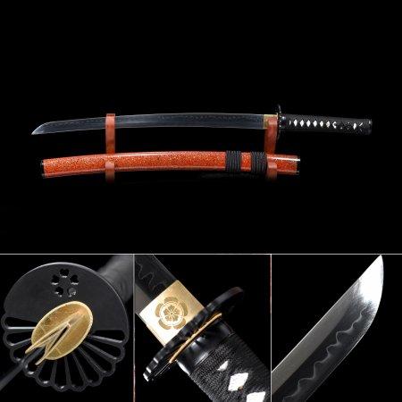 Handmade T10 Carbon Steel Real Hamon Japanese Wakizashi Sword With Orange Scabbard