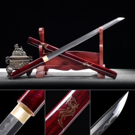 Handmade Real Hamon Japanese Shirasaya Ninjato Shikomizue Blind Fury Stick Sword Without Tsuba